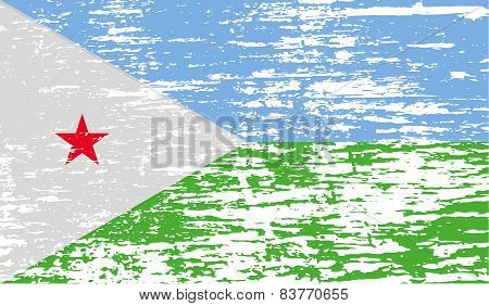 Flag Of Djibouti With Old Texture. Vector