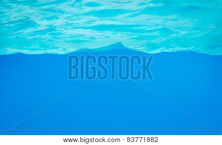 Background Of Clear Blue Water In Aquarium