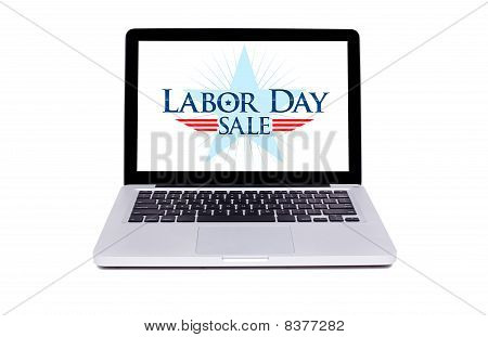 Labor Day Sale Label In Modern Laptop