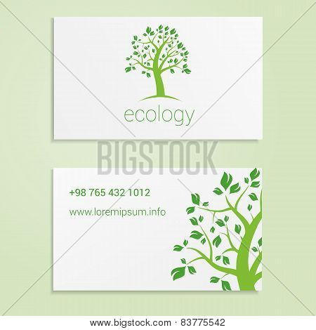 Ecological or eco energy company business card template with green tree. Cutaway and contact details