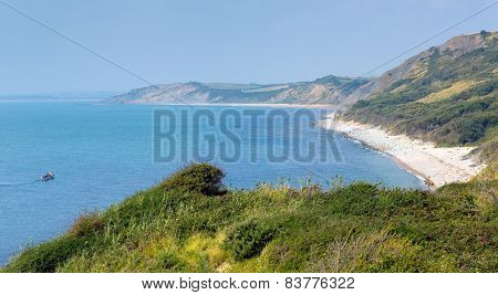 View from Osmington Mills of the coast of Dorset England UK between Weymouth and Lulworth Cove