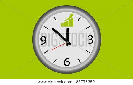 Time for success. Clock with graph of growth. Business concept