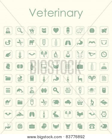 Set of veterinary simple icons