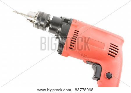 Orange Drill Machine Isolated