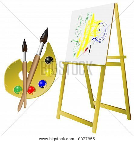 Palette Brush Easel