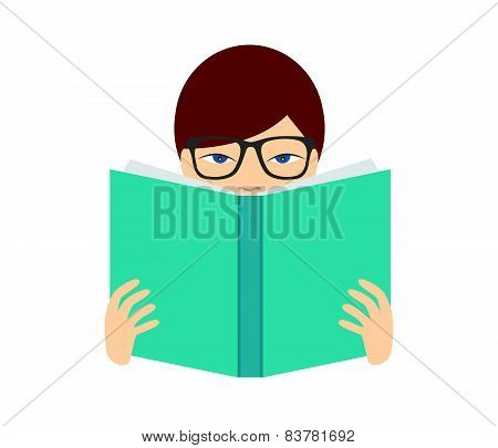 Boy reading a book. Flat vector. Isolated on white.