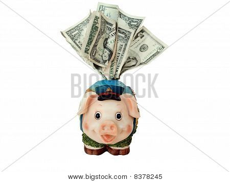 overstuffed funny piggy bank