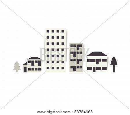City street Illustration. Flat vector design.