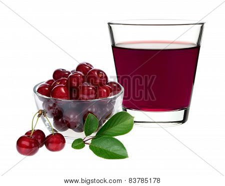 Cherry Juice In A Glass With Cherries