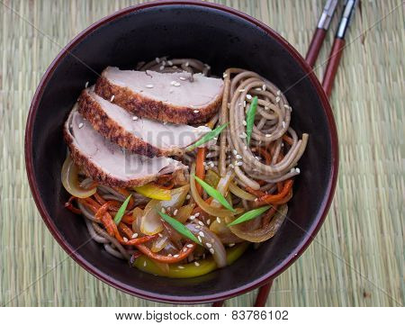 buckwheat noodles with vegetables and duck