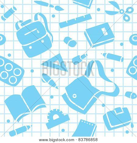 School pattern with education supplies
