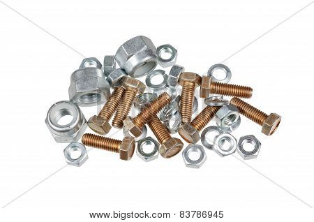 Bolts, Nuts And Washers Isolated On White Background
