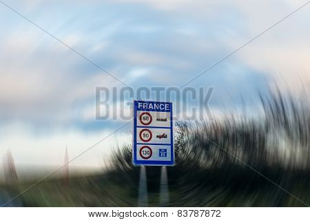 Speed Limitations In France- Entrance Sign