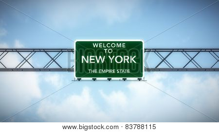 New York USA State Welcome to Highway Road Sign