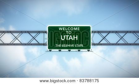 Utah USA State Welcome to Highway Road Sign