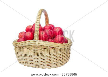 Red basket filled with red apples
