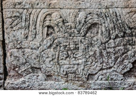 Mayan Sculpture At Chichen Itza, Traveling Through Mexico.