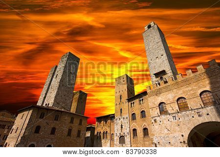 San Gimignano At Sunset - Italy