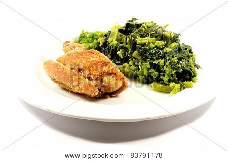 Baked chicken with cooked vegetables