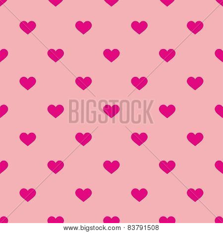 Tile cute vector pattern with pink hearts on pastel background
