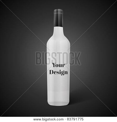 Glass black wine bottle. Vector illustration