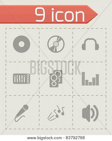 Vector black dj icon set