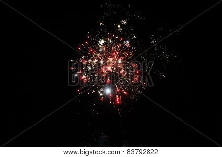 Cluster of colourful fireworks