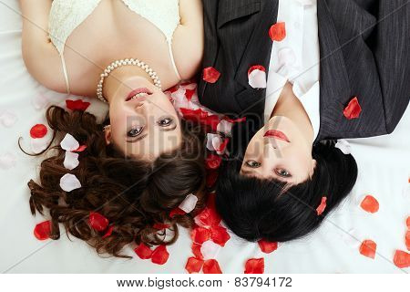 Same-sex marriage. Top view of happy couple