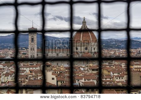 View Of Duomo And Florence Through Cage