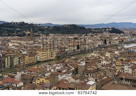 View Of River Arno From Vecchio Tower