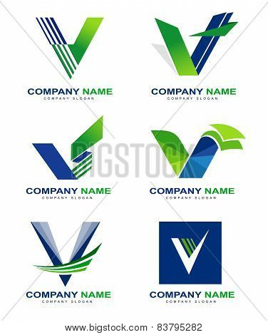 Letter V Logo Design Set