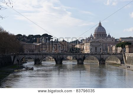 Saint Peter Basilica View From Ponte Umberto
