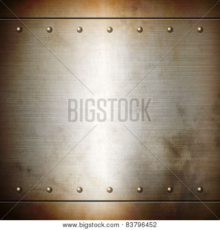 Rusty Steel Riveted Brushed Plate Texture
