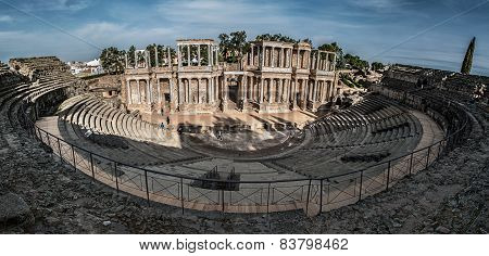 Roman theater in Mérida. overview of the entire theater with a stage and bleachers included