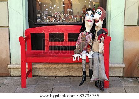 Handmade Lover Dalls On Red Bench, Bratislava