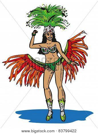 Brazilian In Carnival Costume