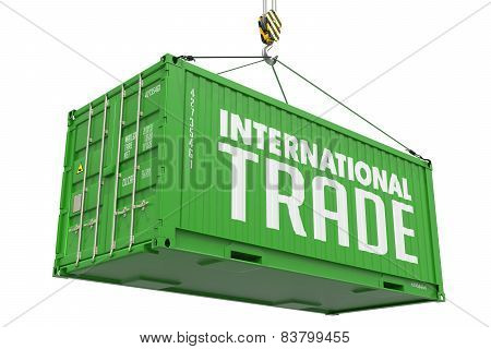 International Trade - Green  Hanging Cargo Container.