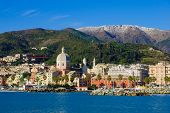 foto of genova  - View of the city of Genoa from the sea in Liguria Italy - JPG