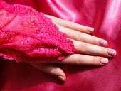 pic of nail paint  - Closeup of romantic styled painted nails with gel polish - JPG