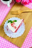 image of red velvet cake  - Close up of Red velvet cake and coffee on table - JPG