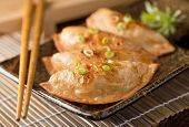 stock photo of scallion  - A plate of delicious asian pot stickers with scallions.