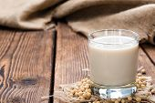stock photo of soybean milk  - Soy Milk with some Seeds  - JPG