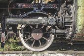 stock photo of locomotive  - Details of an old steam locomotive - JPG