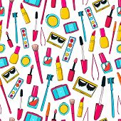 image of lipstick  - Seamless vector pattern with makeup tools - JPG