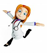 pic of premises  - 3d illustration of doctor with running pose - JPG