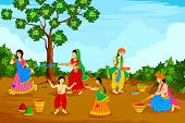 picture of radha  - vector illustration of Radha Krishna playing Holi - JPG