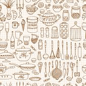 picture of lined-paper  - Seamless pattern with hand drawn cookware on the lined paper - JPG