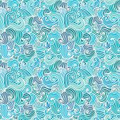 stock photo of aquamarine  - Hand drawn wavy modern background - JPG