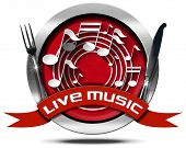 foto of music symbol  - Metal icon or symbol with white musical notes red ribbon with text live music and silver cutlery - JPG