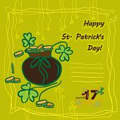 stock photo of irish  - Irish st patrick day party card with flat symbols of the holiday and place for text - JPG